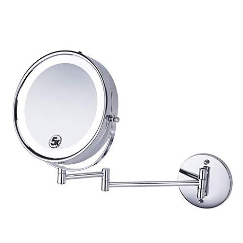 Vergrotende spiegel met LED-make-up spiegel LED-make-up spiegel 5 keer Makeup Wandspiegel Iron spiegel Metal Europese spiegelend oppervlak Geschikt voor de slaapkamer, badkamer damestoilet