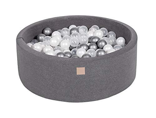 MeowBaby 90X30cm/200 Bälle ∅ 7Cm Bällebad Baby Spielbad Mit Bällen Rund Made In EU Dunkelgrau: Weiße Perle/Silber/Transparent