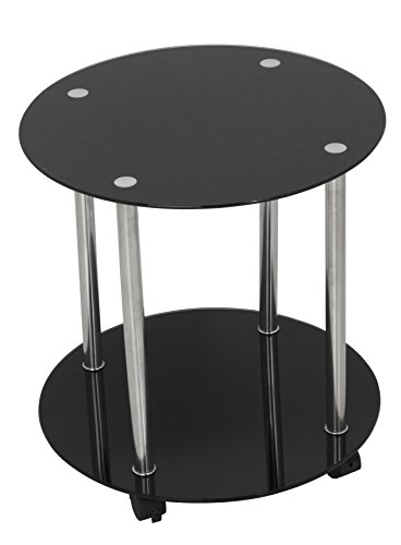 King Black Glass End Table Side Table Coffee Table, Round, 45cm x 45cm top, for Living Rooms, Lounges, Study, etc, with Castors