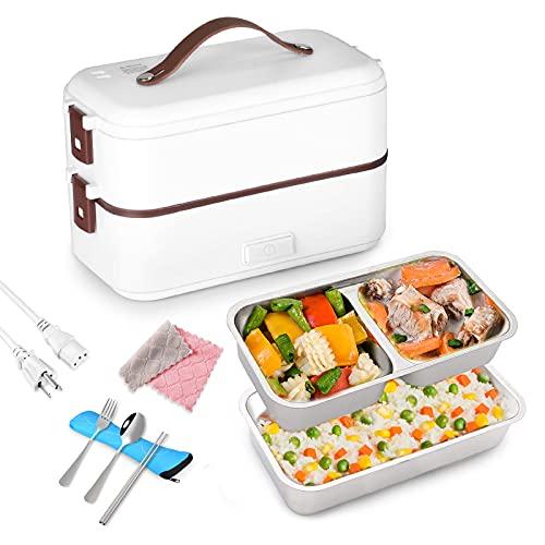 WILDKEN Elektrische Lunchbox Speisenwärmer & Mini Dampfgarer 220V Elektrisch Brotdose 2 Schicht Elektrisch Edelstahl mit Gabel, Löffel für Büro & Unterwegs