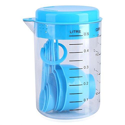 oueaen Herramienta de medición-7Pcs/Set Tazas medidoras de plástico + Cucharas Mida Té Café Utensilio de Cocina Azul