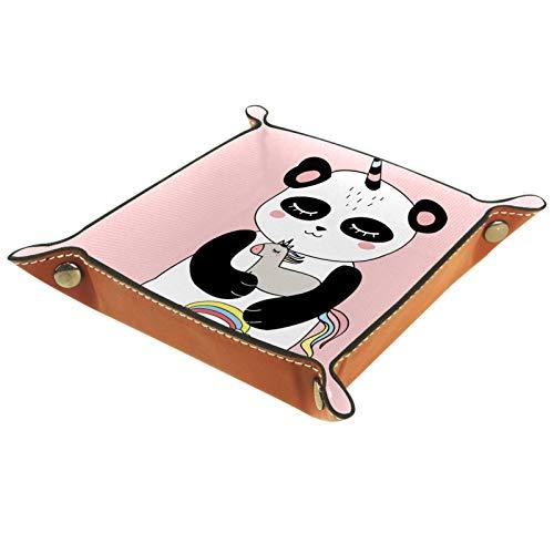 XiangHeFu Bandeja de Cuero El Panda Abraza el Juguete Unicornio Almacenamiento Bandeja Organizador Bandeja de Almacenamiento Multifunción de Piel para Relojes,Llaves,Teléfono,Monedas