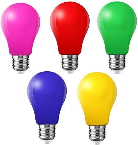 Farbige Glühbirnen LED 3W E27 Beleuchtung Glühbirnen, 220V AC LED Leuchtmittel Birnenform, Gemischte Farben Rot Grün Blau Rosa Gelb,5er Pack