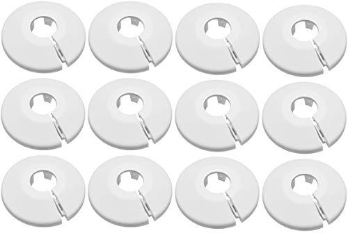 12er SET Kunststoff Heizkörperrosetten für 15mm Rohre Farbe weiß Rohrabdeckung Rohrschelle Rohrmanschette schnelle und einfache Montage mit Clipverschluss