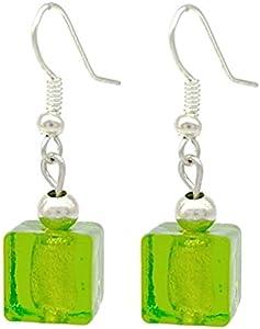 Venecianas de verde/plata pendientes de gota de cristal de Murano