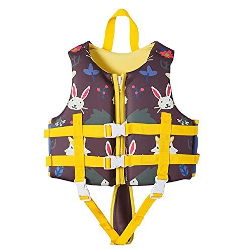 TYPING Neoprene Life Chalecos Niños Deportes De Agua Chaleco De Pesca Kayaking Boating Natación Surfing Drifting Seguridad Vestir Chaleco 2-12 Años,Marrón,XL