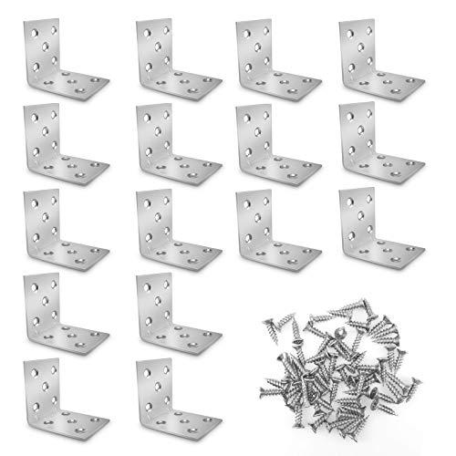 16 soportes de esquina de 50 x 50 x 40 mm, resistente ángulo con 160 tornillos, soporte de estante de metal de 90 grados en ángulo recto, color plateado