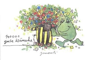 Janosch Postkarte Frosch 100000 gute Wünsche