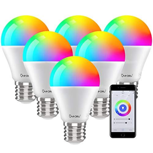Onforu 6 Pack 7W Alexa Bombilla LED Inteligente, Wifi RGBW Bombilla, E27 Bombillas Compatibles con Echo, Google Home, Smart Luces de Colores con Blanco 2800k-6200k, WiFi Lámpara de Control Remoto