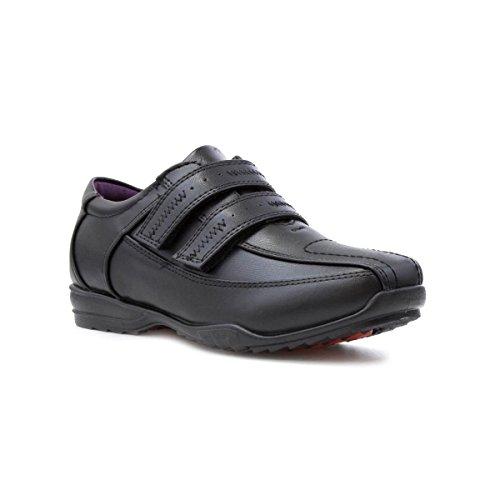 Us Brass - Zapato escolar para niños con cierre al tacto negro