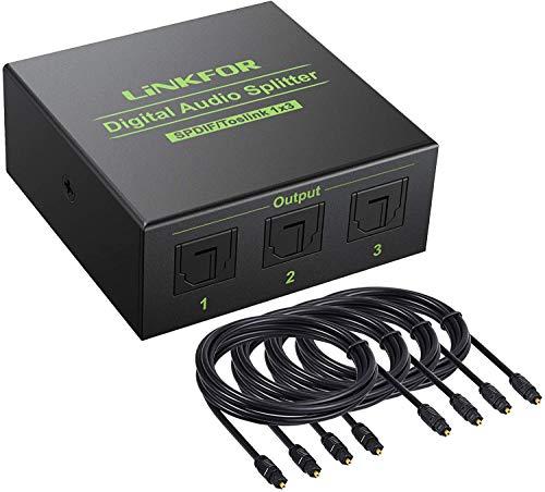 Divisor de Audio 1 x 3 Salidas Splitter Optico con 4 Cables