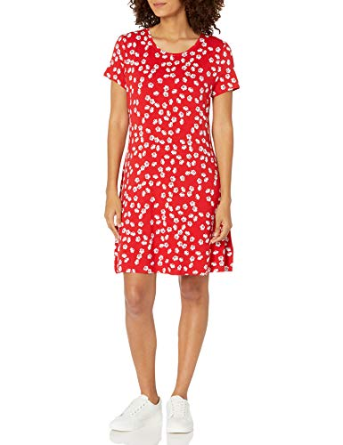 Amazon Essentials Women's Short Sleeve Scoopneck A-line Shirt Dress, Red Tossed Poppy, X-Small