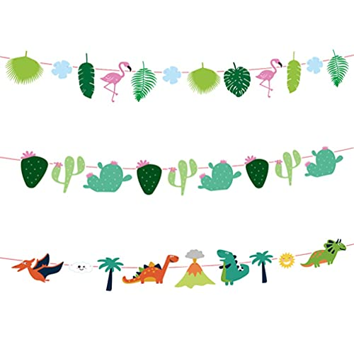 3 banderines hawaianos para fiestas, flamencos, cactus, hojas, pancartas, dinosaurios, guirnalda, luau, papel tropical, para colgar, banderines, decoraciones para cumpleaños, bodas