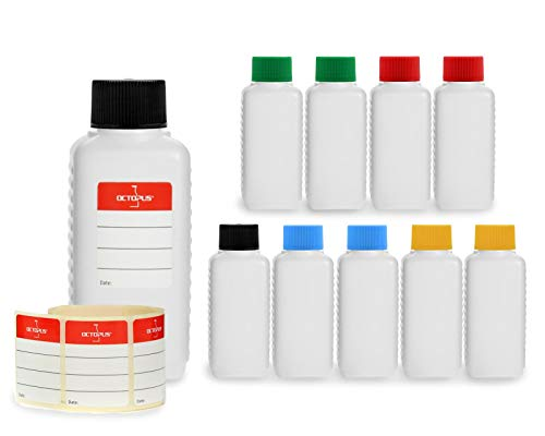 10x 100 ml bottiglie in plastica Octopus, bottiglie in plastica HDPE con tappi a vite variopinti, bottiglie vuote con coperchi a vite colorati, bottiglie quadre con etichette compilabili incluse