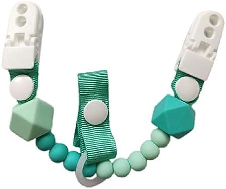 Patentado. rosa Dos pinzas Innovaci/ón para mantener el chupete limpio Tetero BOLITAS//Silicona antibacteriana doble anclaje