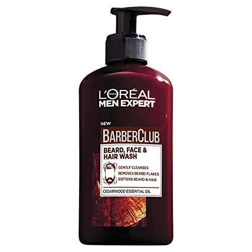 L'Oreal Paris Men Expert, Beard Shampoo, Barber Club 3-in-1 Beard, Hair & Face Wash, 200 ml