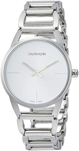 Calvin Klein CK Stately K3G23126 - Reloj analógico de Cuarzo para Mujer, Correa de Acero Inoxidable Color Plateado