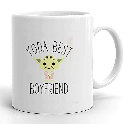 YODA - Taza de café con texto en inglés 'Best Boyfriend', divertida taza de café para novio o novio