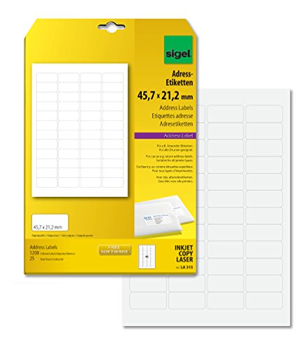 SIGEL LA315 abgerundete Adress-Etiketten weiß, 45,7 x 21,2 mm, 1200 Etiketten = 25 Blatt