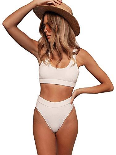 MZEAZRK Women High Waisted Swimsuit Padded Push Up Two Piece Bandeau Bikini Set Swimwear Bathing Suit (White, S)