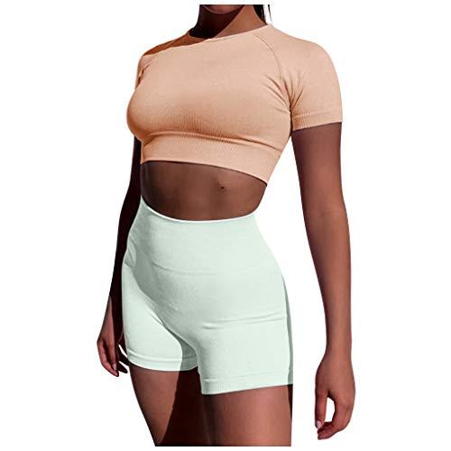 YBWZH Damen Sport Fitness Set Solide Sportbekleidung für Yoga oder Fitness Oberteile Weste und Bauchfreies Top und Leggings, Stretch-Fit, 2-teiliges Set, Weste Elastic Tops + Hosen