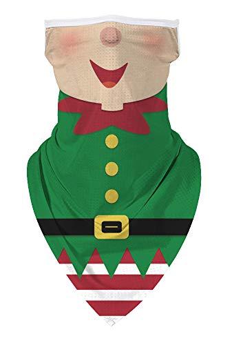 Ainuno Christmas Mask for Men Women Green Elf Mask Elves Printed Unisex Funny Mask Cute Gingerbread Neck Gaiter Half Face Banana Mask Christmas Vacation Carnival Festival Ugly Xmas Mask Igly Cartoon