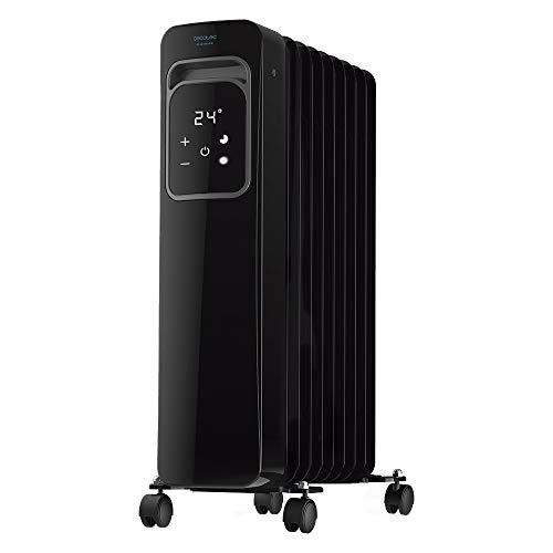 Cecotec Radiador Eléctrico de Aceite Ready Warm 9000 Touch Black. Bajo Consumo, 9 Elementos, 2000 W, 3 Modos de funcionamiento, Pantalla LCD, Control Táctil, Temporizador 9h, Ruedas, 20 m2