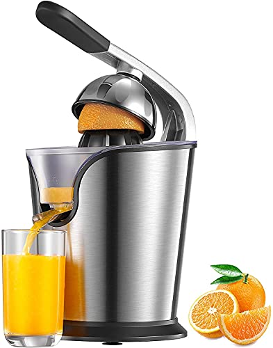 Orange Juicer Electric, 160W Professional Electric Citrus Juicer with Lever, SqueezerJuice Extractor, Stainless Steel and BPA Free, 2 Interchangeable Cones for All Citrus Fruits