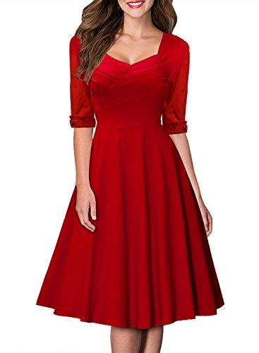 MIUSOL Damen Elegant Kurzarm Business Rockabilly Cocktailkleid Retro 50er Jahre Party Stretch Kleid Rot XL