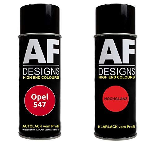 Alex Flittner Designs Autolack Spraydose Set für Opel 547 MAGMAROT Basislack Klarlack Sprühdose 400ml