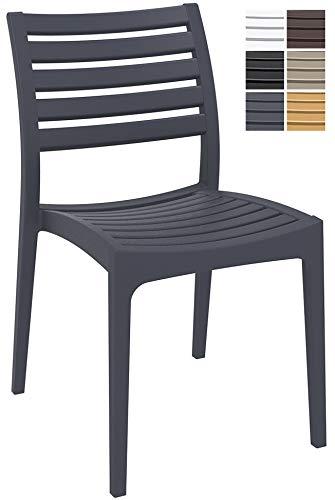 CLP Gartenstuhl ARES aus Kunststoff l Küchenstuhl belastbar bis 160 kg l Wasserabweisender, UV-beständiger Stapelstuhl, Farbe:dunkelgrau