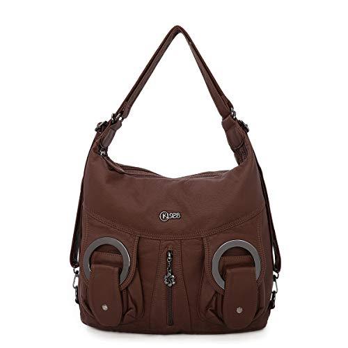 KL928 Damen Schultertaschen Handtaschen Umhängetasche Hobo Tasche Rucksack Weiches Leder Crossbody Geldbörse mit Reißver Schlusstaschen (COFFEE)