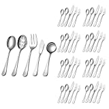 Silverware Set,SHARECOOK 45-Piece Stainless Steel Flatware Set with Serving Set,Kitchen Utensil Set Service for 8,Tableware Cutlery Set for Home and Restaurant, Dishwasher Safe(45-Piece, Silver)