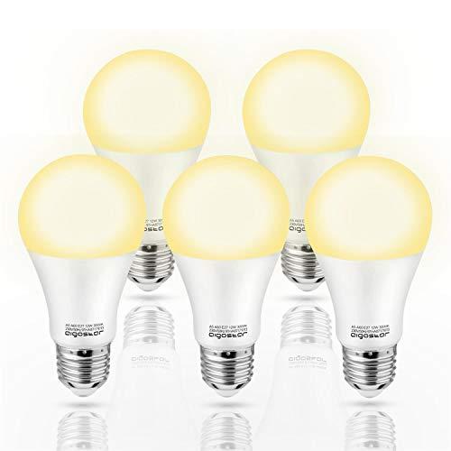 Aigostar - Bombilla LED E27, 12W, Luz calida 3000K , 984 lúmenes, Ángulo 280° - 5 unidades