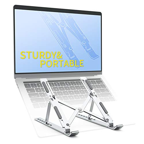 Laptop Stand Ergonomic Aluminum Computer Stand Portable Foldable Metal Holder Hollow Design for Heat Dissipation 7-Level Height Adjustable Laptop Riser Compatible with 11-17''Laptop/Pad/Phone/Book