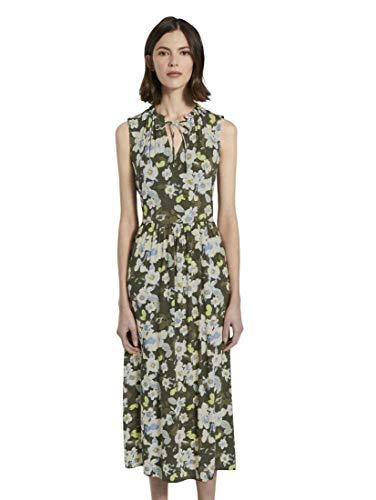 TOM TAILOR Damen Kleider & Jumpsuits Ärmelloses Maxikleid mit Musterung Khaki floral Design,38