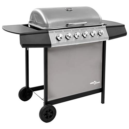 vidaXL Gas Barbecue with 6 Burners BBQ Grill Cooking Camping Hiking Picnics Garden Outdoor Patio Terrace Black and Silver
