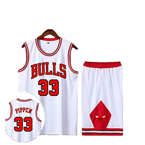 Bulls Pipon 33# Herren T-Shirt Basketball Trikot Sweatshirt Retired Basketball Shirt Top Ärmellos Anzug Gym Wettkampf Training Druck Lose Version Geschenk Gr. L, weiß