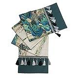 SPNEC Camino de Mesa de Estilo Chino Zen Moderno japonés Bandera de té TV gabinete Mesa de Comedor Mantel Zapatero Cubierta de Tela Towe (Color : A, Size : 34 * 180CM)