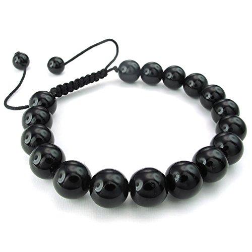 KONOV Mens Womens Natural Gemstone Crystal Agate Onyx Bracelet, 7-9 inch Adjustable, Black