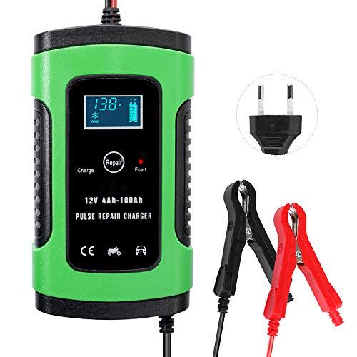 KKmoon 12V 6A Cargador de Batería para Automóvile,Motocicleta,Powersports,Barco,Mantenimiento Completamente Automático e Inteligente Múltiples Protecciones LCD con Botón de la Pantalla Táctil