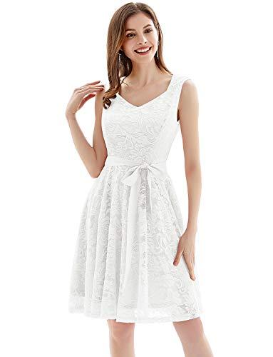 Gardenwed Damen-Kleid, Vintage, geblümte Spitze, Cocktailkleid, formell, Swing-Kleid, kurz, V-Ausschnitt, Brautjungfernkleid, Party-Kleid -  Weiß -  Groß