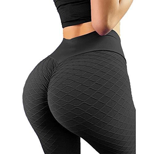 RIOJOY Women's High Waist Booty Scrunch Butt Lift Leggings Tummy Control Yoga Pants Textured Workout Tights