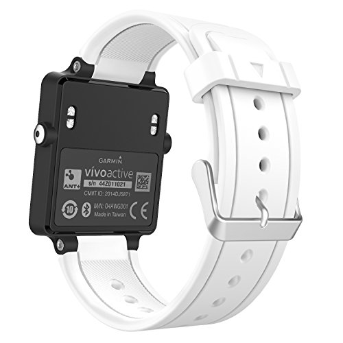 MoKo Watch Band Compatible with Garmin Vivoactive, Soft Silicone Replacement Fitness Bands Wristbands with Metal Clasps for Garmin Vivoactive/Vivoactive Acetate Sports GPS Smart Watch - White