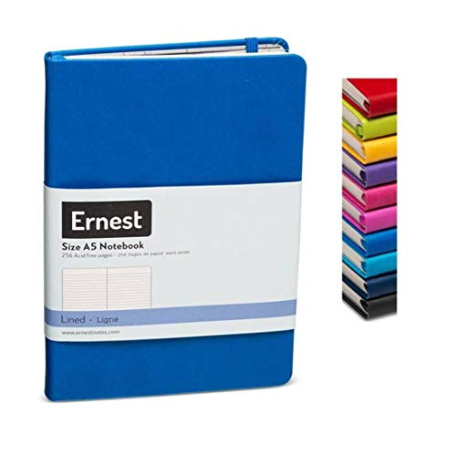 Ernest Notes Lined Journal, Hardcover Notebook for Work, Lined Notebook Journal for Writing A5 Medium 5.5 x 8 inches, 256 Pages (Blue, Ruled)