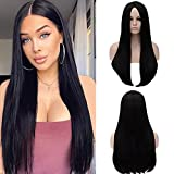 FVCENT Long Straight Middle Part Natural Black Women Wednesday Addams Costume Morticia Wig