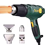 Heat Gun TECCPO 1500W Professional Electric Air Gun With 3-Speed Variable Temperature Control, Temperature Setting Range122℉~1112℉, With 4 Condensers/Glass Protection Cover/Wide Condens