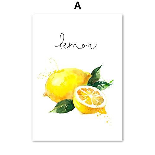 UIOLK HD Pintura en Lienzo Manzana limón Pera Fruta Cocina Lienzo Pintura Cartel nórdico Grabado Pintura Decorativa Pintura de Pared de Dibujos Animados Aniversario Regalo de cumpleaños