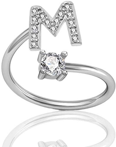 LKITYGF Gorgeous Women Girls Letter ring 925 sterling silver Open Adjustable initial 26 English alphabet A-Z rings (Size : T)