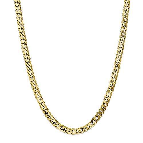 Collana in oro giallo 10 kt, 7,25 mm, piatta smussata, con chiusura a moschettone, 50,8 cm, per uomo e donna